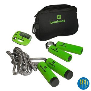 Travel workout kit.Take your workout with you. Convenient travel kit with pedometer, skipping ropee and hand grips Perfect for gym and fitness centers.Promotional Product Direct